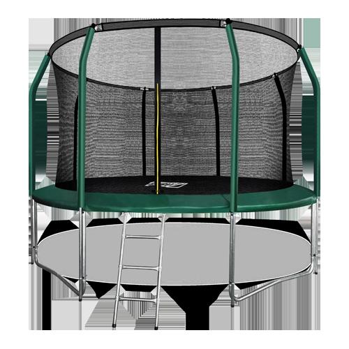 Батут премиум ARLAND 12FT с внутренней страховочной сеткой и лестницей (Dark green) (ТЕМНО-ЗЕЛЕНЫЙ)
