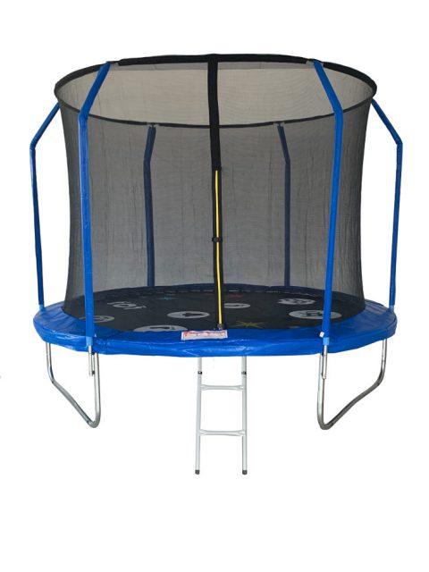 Батут Sport Elite PLAY 10 футов фиберглас с принтом, внутренней сеткой и лестницей, 305 см