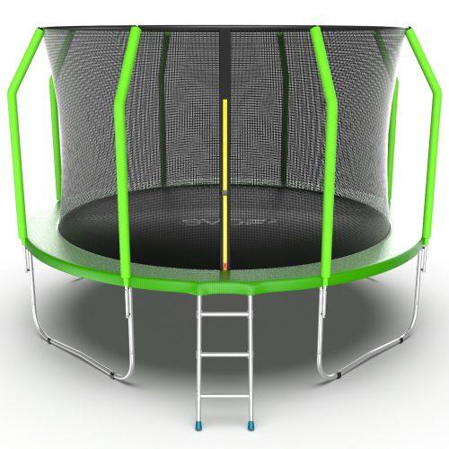 Батут EVO JUMP Cosmo 12 футов с внутренней сеткой и лестницей цвет зеленый, 366 см