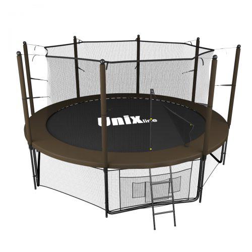 Батут UNIX line Black&Brown 10 футов с внутренней сеткой цвет коричневый, 305 см